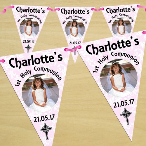 Personalised Girls First Holy Communion Flag PHOTO Bunting Banner - N54